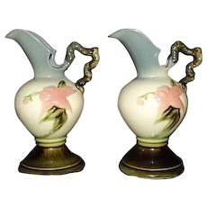 """Pair Of Hull Pottery """"Woodland"""" Ewers"""