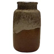 Western Germany Lava Glazed Brown And White Vase