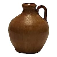 Small Artist Signed Light Brown Hand Thrown Jug