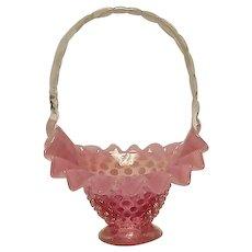 Fenton Cranberry Opalescent Hobnail Basket Form #3835