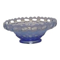 Fenton Blue Opalescent Mayo Bowl