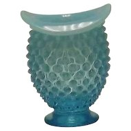 Fenton Blue Opalescent Hobnail Hat Shaped Mini Vase