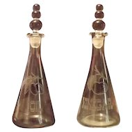 "Imperial ""Candlewick"" Etched Oil And Vinegar Cruet Set"