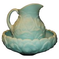 "Fenton LIght Blue Pitcher And Bowl Set In The ""Water Lily"" Pattern"