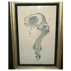 """Gibson Girl India Ink Drawing- """"The Eternal Question"""""""