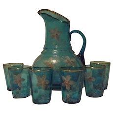 Unmarked Hand Decorated Light Blue Lemonade Set