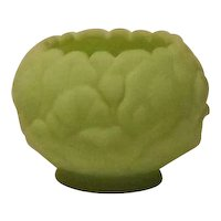 Fenton Lime Green Satin Glass Lotus Pattern Rose Bowl