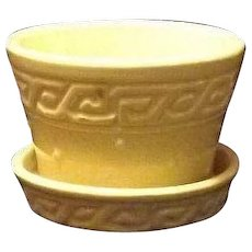 McCoy Pottery Yellow Greek Key Pattern Violet Pot