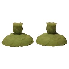 Fenton Lime Green Satin Glass Lotus Pattern Candlesticks