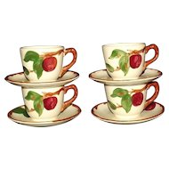 "Set Of Four Franciscan ""Apple"" Coffee Cups And Saucers"