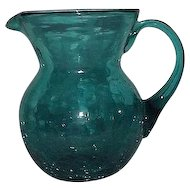 Green Crackle Glass Pitcher With Attached Handle