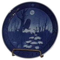 "Royal Copenhagen 1974 Annual Christmas Plate Titled ""Winter Twilight"""