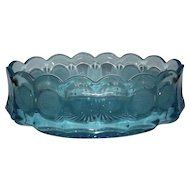Fostoria Light Blue Coin Pattern Oval Bowl