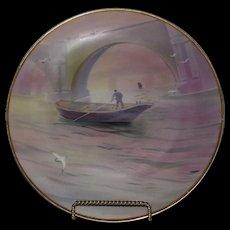 Gorgeous Full Pallette Hand Painted River Scene Noritake Plate