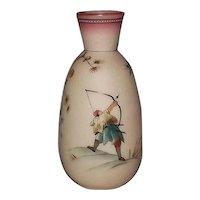 Burmese Glass Hand Decorated Vase