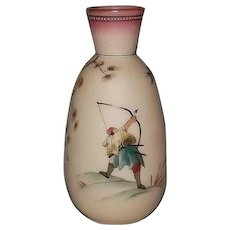 Burmese Glass Hand Decorated Vase