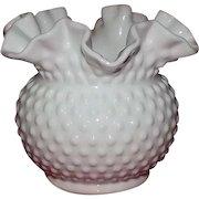Large Fenton Milk Glass Hobnail Decorated Rose Bowl