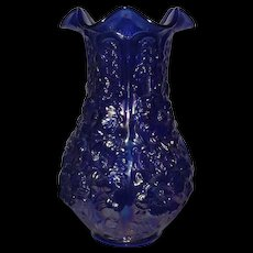 "Large Fenton Electric Blue ""Poppy Show"" Pattern Vase"
