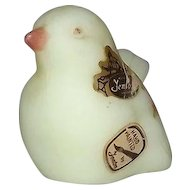 Fenton Satin Glass Hand Painted Artist Signed Bird Figurine