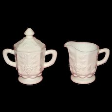 Westmoreland Glass Grape Pattern Covered Sugar And Creamer Set