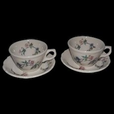 "Pair Of Syracuse China ""Summerdale"" Cups And Saucers"