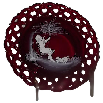 """Ruby Westmoreland Glass """"Mary Gregory"""" Style Decorated Collector Plate"""