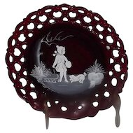 "Ruby Westmoreland Glass ""Mary Gregory"" Style Collector Plate"