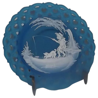 """LIght Blue Satin Westmoreland Glass """"Mary Gregory"""" Style Decorated Collector Plate"""