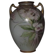 Noritake Two Handled Pillow Vase With Flower Decoration