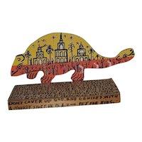 """Howard Finster Outsider Art Work Titled, """"Two Headed Dinosaur"""""""