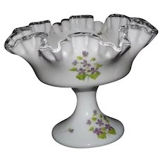 """Fenton """"Silver Crest"""" Violets In The Snow Decorated Compote"""
