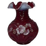 Fenton Hand Painted Reverse Draped Cranberry Opalescent Vase
