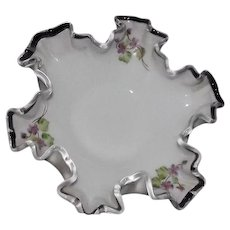 """Unmarked Pre 1970 Fenton Violets In The Snow Decorated """"Silver Crest"""" Open Candy Dish"""