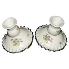 """Pair Of Pre 1970 Unmarked Fenton """"Silver Crest"""" Candlesticks With Violets In The Snow Hand Painted Decoration"""