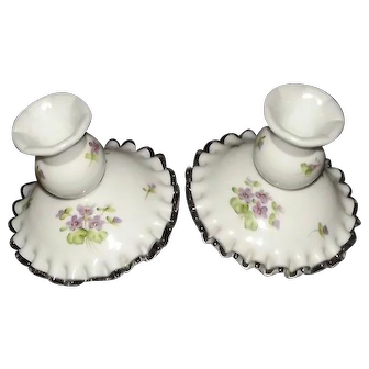 "Pair Of Pre 1970 Unmarked Fenton ""Silver Crest"" Candlesticks With Violets In The Snow Hand Painted Decoration"