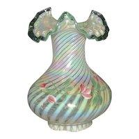 Hand Painted Artist Signed Fenton Light Green Spiral Optic Bulbous Vase