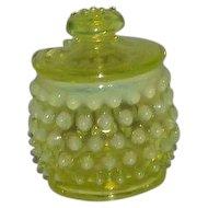 Fenton Pre Logo Topaz Opalescent Hobnail Mustard Jar