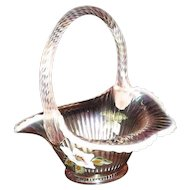 Fenton Opalescent Light Yellow Basket With Iridescent Highlights