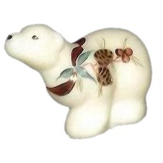 Fenton White Satin Glass Christmas Polar Bear Figurine