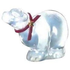 Fenton Clear Iridescent Polar Bear With Original Paper Label