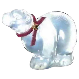 Fenton Clear Iridescent Polar Bear With Original Paper Label