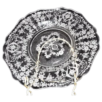 "Cambridge Glass Etched ""Diane"" Pattern Dinner Plate"