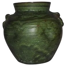 Green Unsigned Art Pottery Two Handled Vase