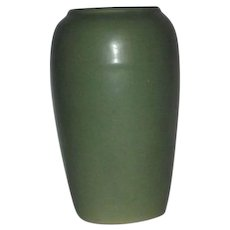 Unmarked Olive Green Art Pottery Cabinet Vase