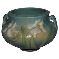 "Small Iris Decorated Jardiniere Bottom marked ""Roseville U. S. A., 647,3"""