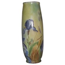 "Iris Motif Hand Decorated Vase Bottom Marked ""Vienna"""