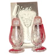 "Cambridge Glass ""Diane"" Etched Plastic Top Salt And Pepper Shakers"