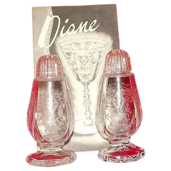 """Cambridge Glass """"Diane"""" Etched Plastic Top Salt And Pepper Shakers"""