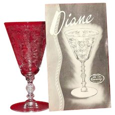 "Cambridge Glass ""Diane"" Etched Juice Tumbler"