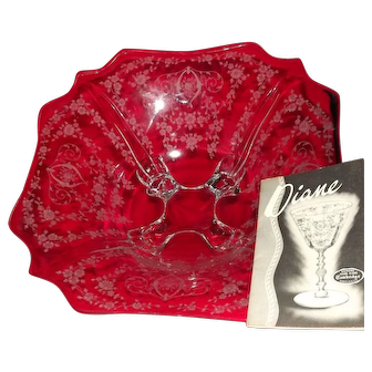 """Cambridge Glass """"Diane"""" Etched  Four Footed Square Bowl"""